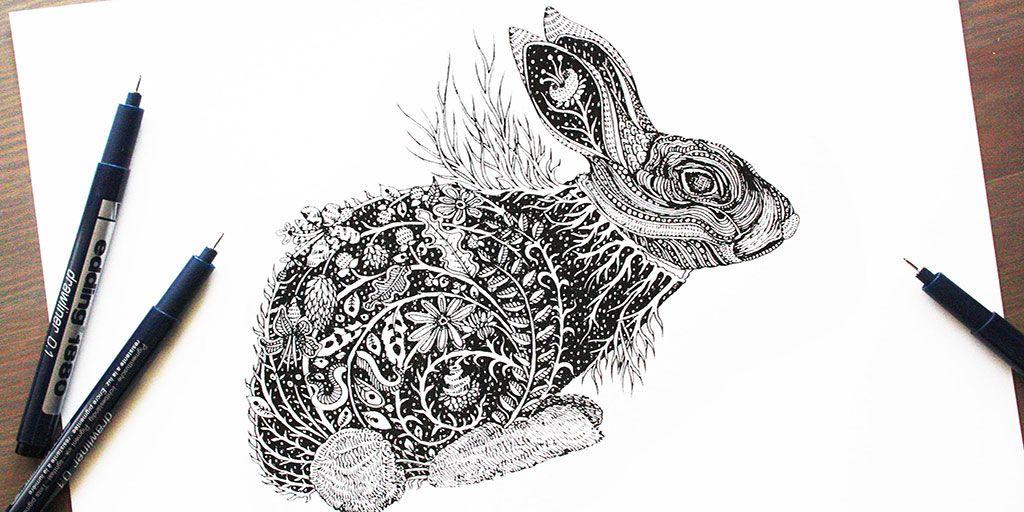 Нарисованный кролик