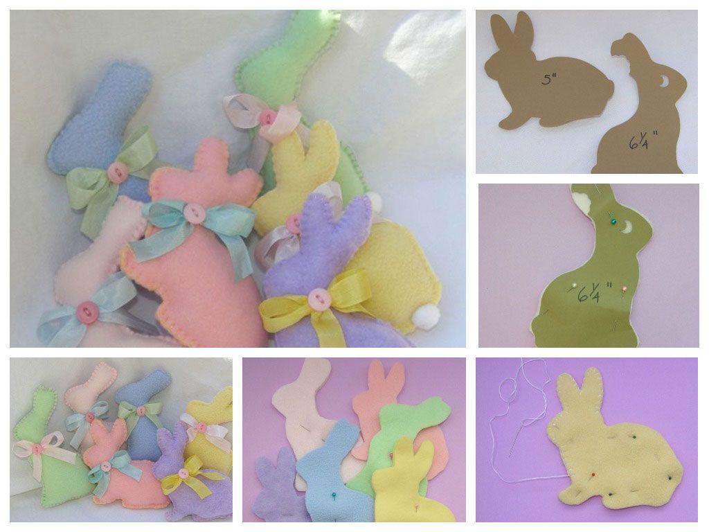 Фигурки кролика из фетра
