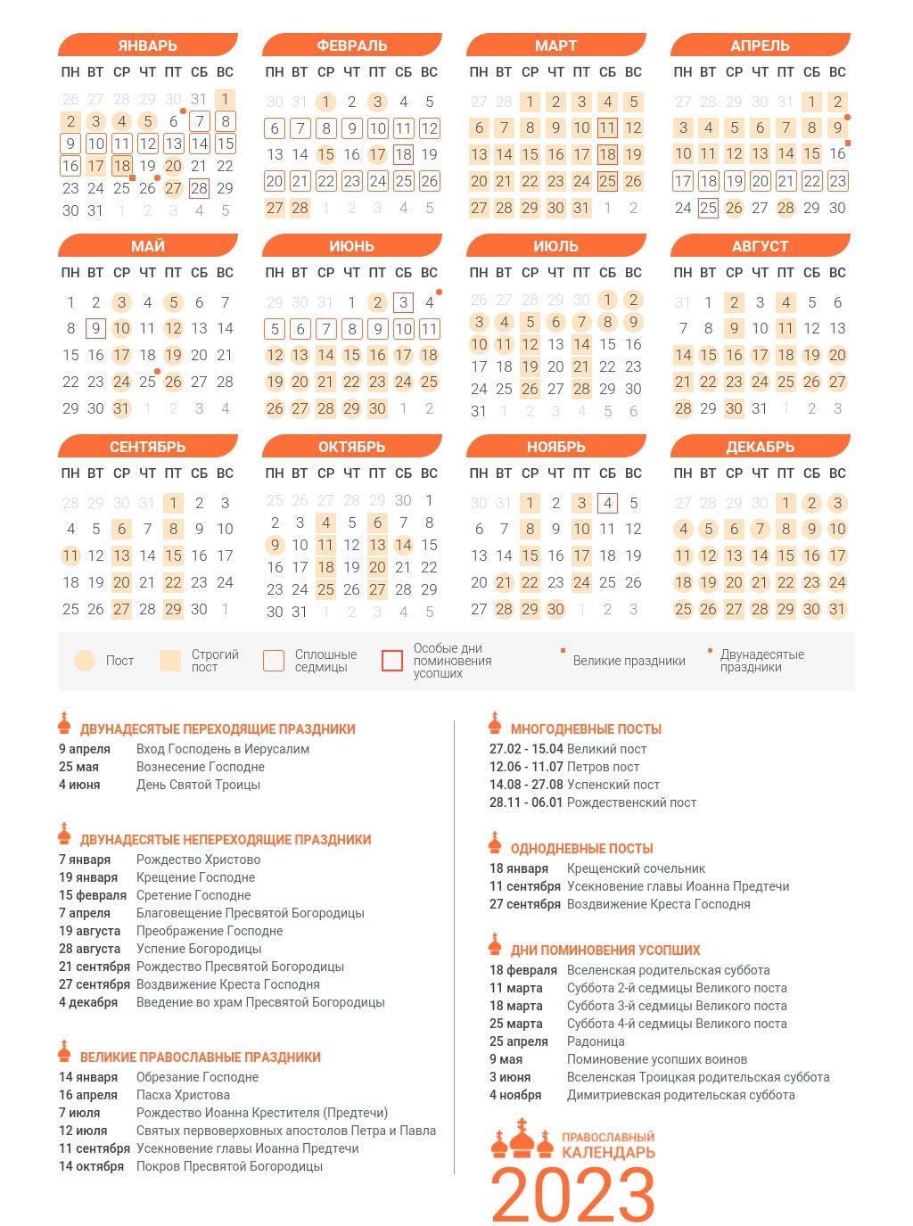 Првославный церковный календарь на 2023 год