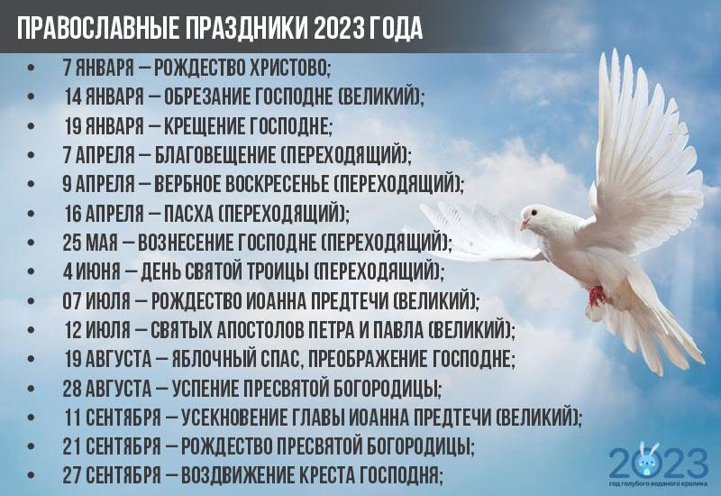 Православный календарь - праздники на 2023 год