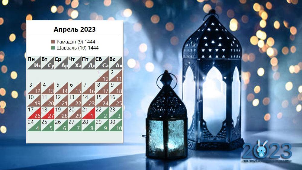 Мусульманский календарь на апрель 2023 года