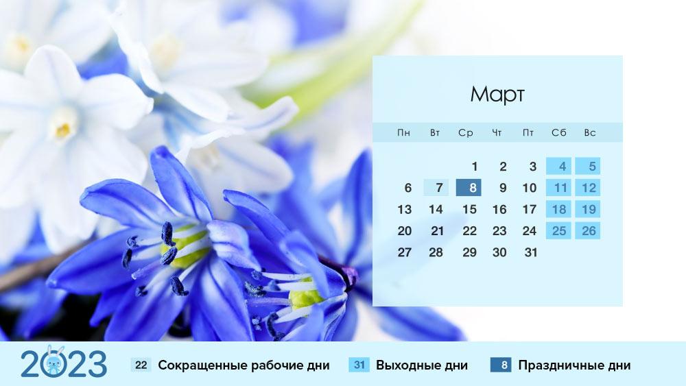 Март 2023 года в России: календарь, праздники, выходные, как отдыхаем