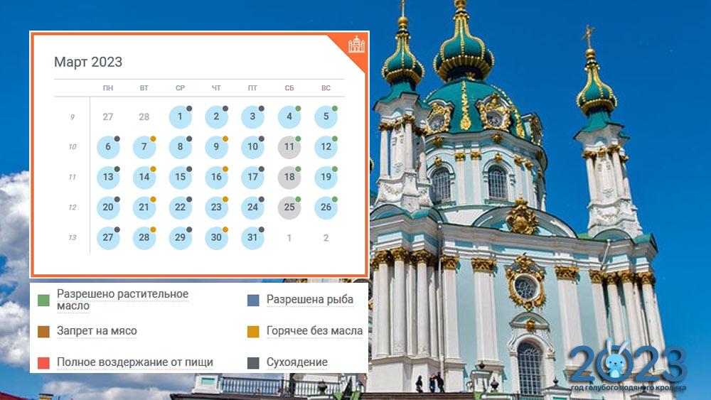 Православный календарь на март 2023 года