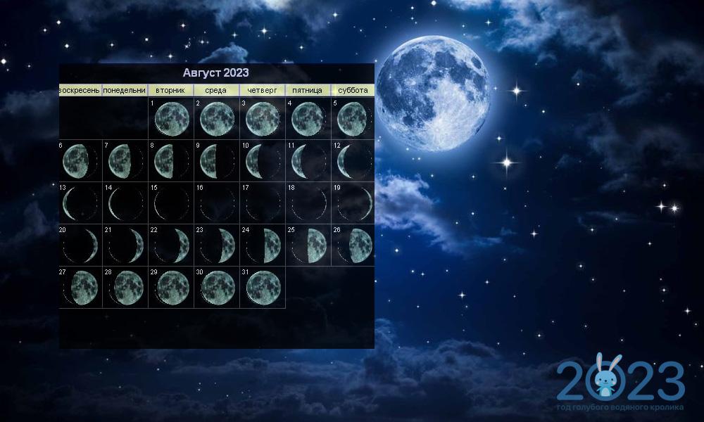 Лунный календарь на август 2023 года