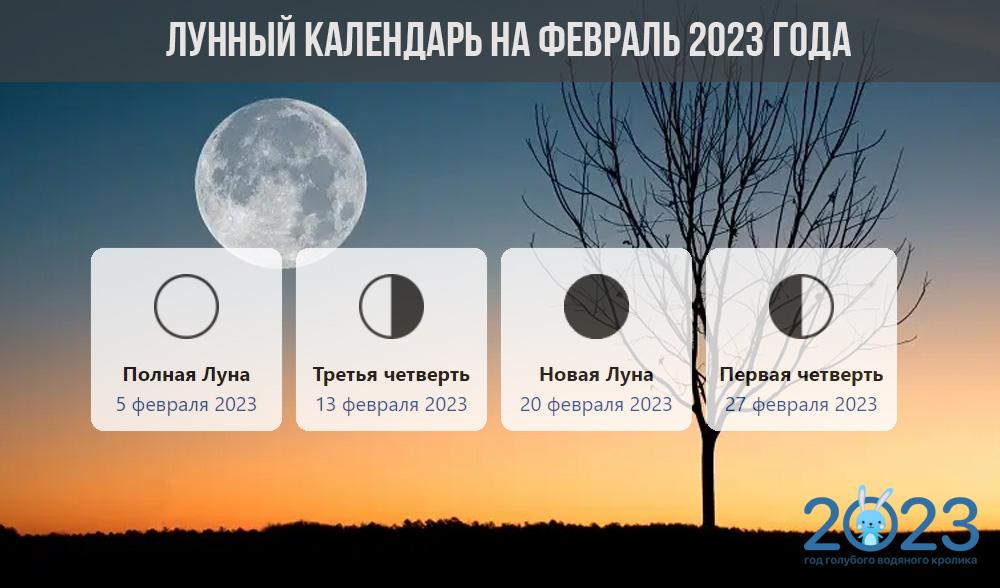 Лунный календарь на февраль 2023 года - фазы Луны