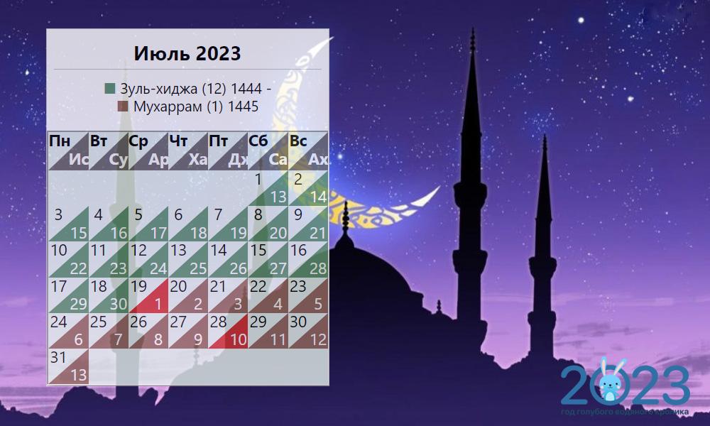 Мусульманский календарь на июль 2023 года