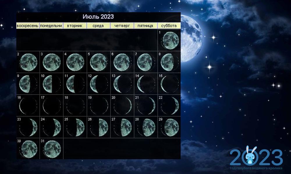 Лунный календарь на июль 2023 года