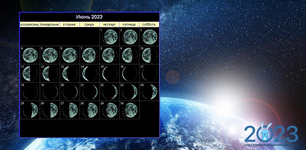 Лунный календарь на июнь 2023 года