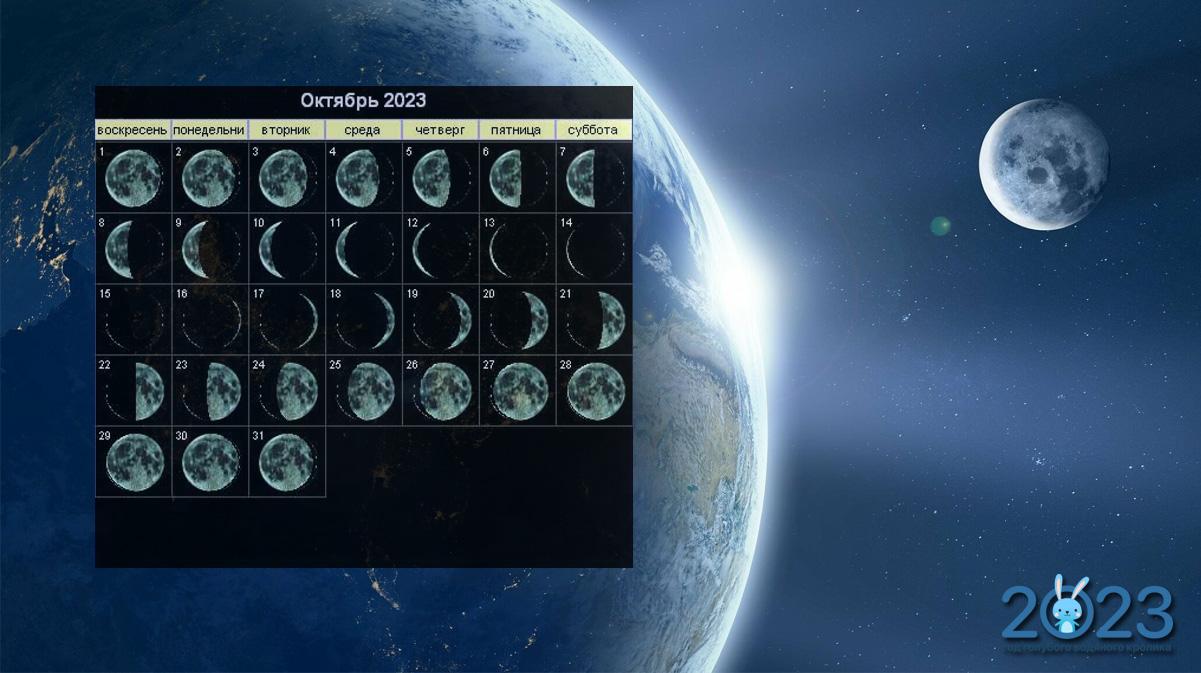 Лунный календарь на октябрь 2023 года