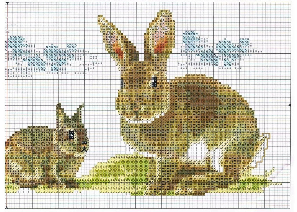 Схема вышивки крестиком кроликов