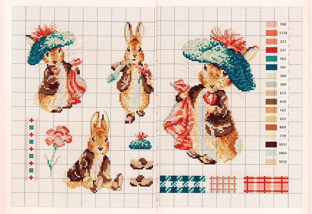 Схема вышивки кроликов
