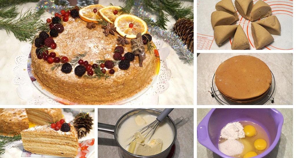 Приготовление новогоднего торта