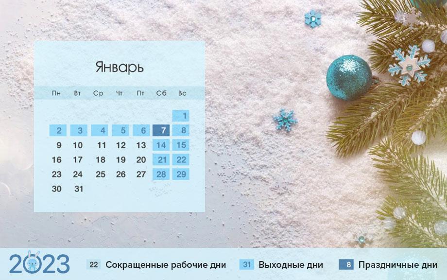 Красные дни календаря России в 2023 году - январь