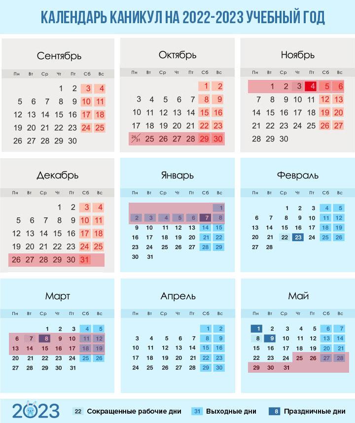 Каникулы при новой системе биместров на 2022-2023 учебный год